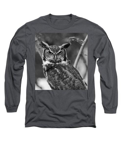 Eurasian Eagle Owl Monochrome Long Sleeve T-Shirt