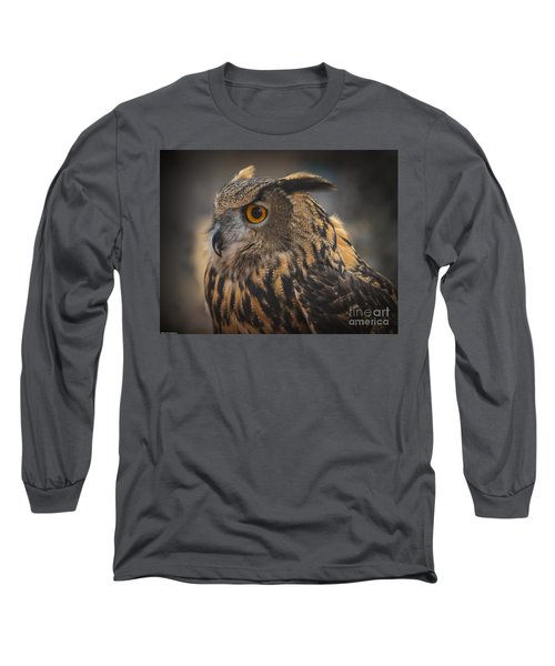 Eurasian Eagle Owl Portrait 2 Long Sleeve T-Shirt by Mitch Shindelbower