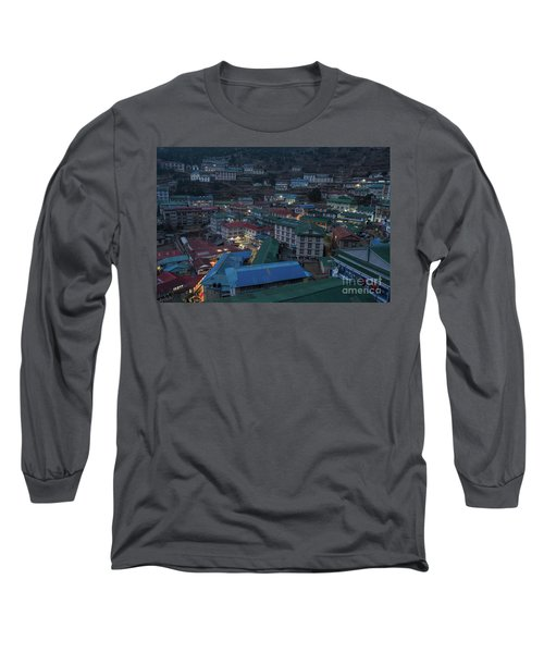 Long Sleeve T-Shirt featuring the photograph Evening In Namche Nepal by Mike Reid