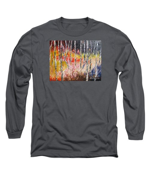 Evening In The Woods Pallet Knife Painting Long Sleeve T-Shirt by Lisa Boyd