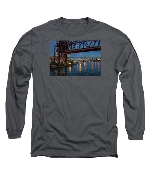 Long Sleeve T-Shirt featuring the photograph Evening On The Cuyahoga River by Brent Durken