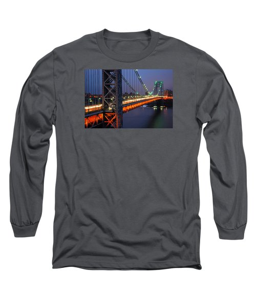 Evening On The George Washington Bridge Long Sleeve T-Shirt by James Kirkikis