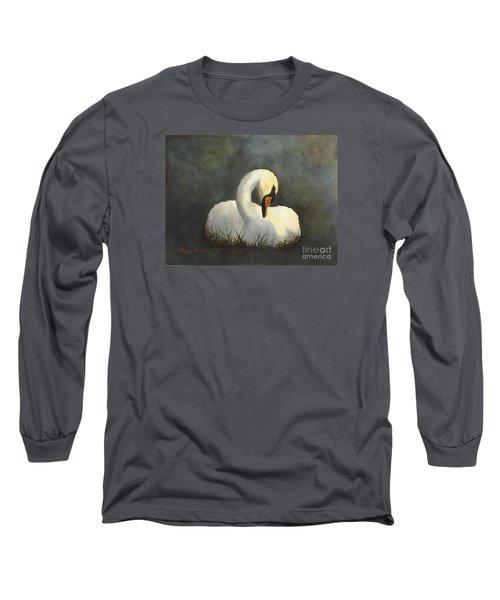 Evening Swan Long Sleeve T-Shirt by Phyllis Howard