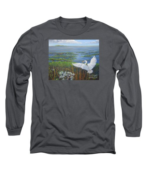 Everglades Egret Long Sleeve T-Shirt by Anne Marie Brown
