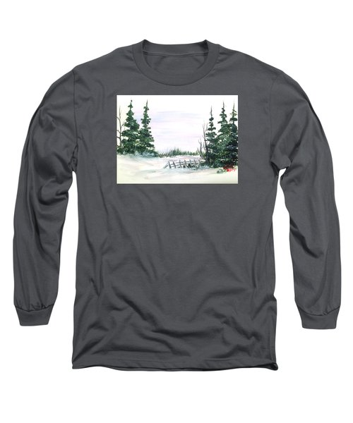 Long Sleeve T-Shirt featuring the painting Evergreens In Snow by Dorothy Maier