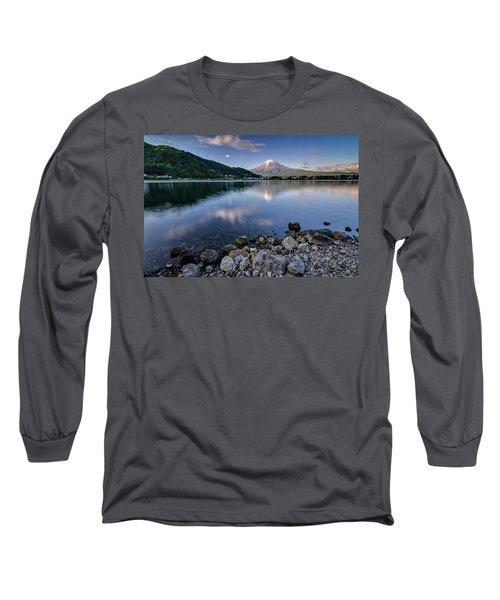 Exploring My Way Along Lake Kawaguchi Shoreline Long Sleeve T-Shirt