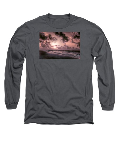 Explosive Sunrise On Ocracoke Outer Banks Long Sleeve T-Shirt by Dan Carmichael