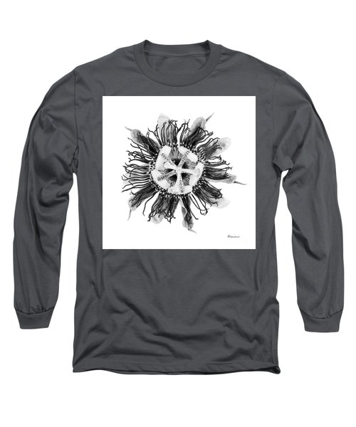 Expressive Passion Flower In Grayscale 50674g Long Sleeve T-Shirt
