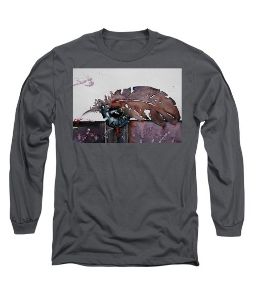 Long Sleeve T-Shirt featuring the painting Eye Feather by Geni Gorani