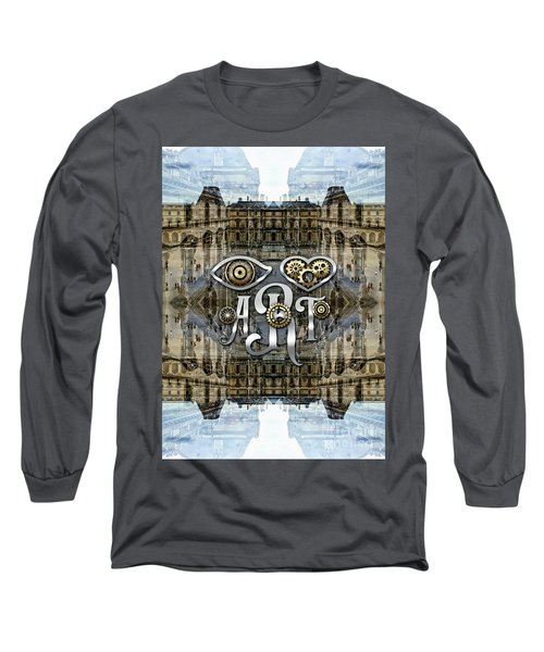 Eye Heart Art Louvre Silver Paris Da Vinci Gears Long Sleeve T-Shirt