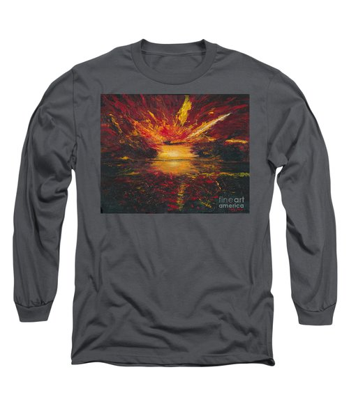 Long Sleeve T-Shirt featuring the painting Eye Of The Storm by Ania M Milo