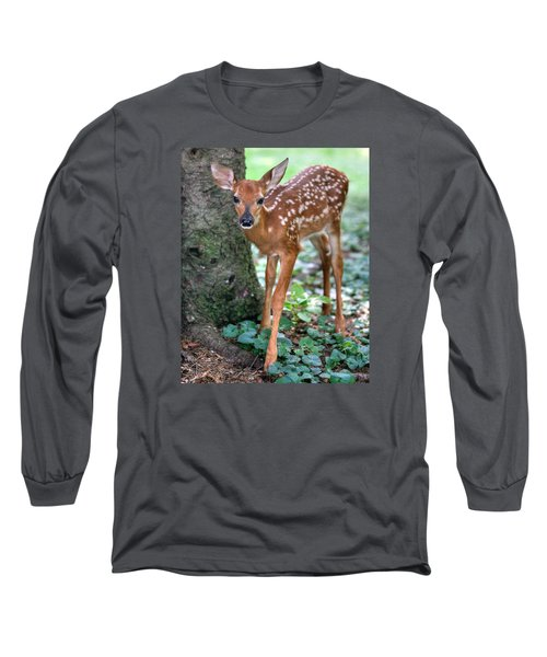 Long Sleeve T-Shirt featuring the photograph Eye To Eye With A Wide - Eyed Fawn by Gene Walls