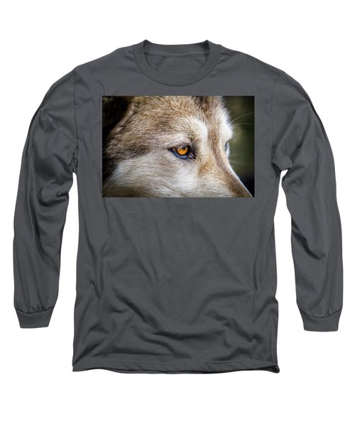 Long Sleeve T-Shirt featuring the photograph Eyes Of The Gray Wolf by Teri Virbickis