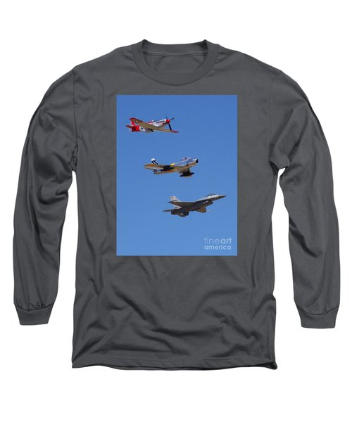 F-16 P-51d F-86 Heritage Flight- Flyby Long Sleeve T-Shirt