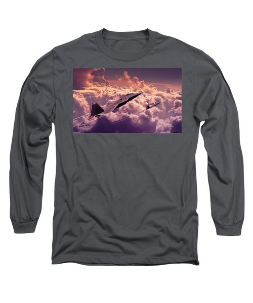 F22 Raptor Aviation Art Long Sleeve T-Shirt by John Wills