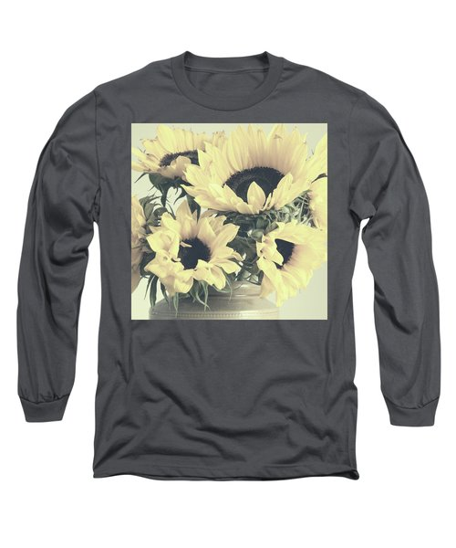 Faded Sunflowers Long Sleeve T-Shirt