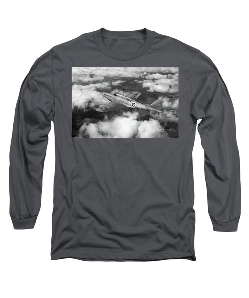 Long Sleeve T-Shirt featuring the photograph Fairey Battle In Flight Bw Version by Gary Eason
