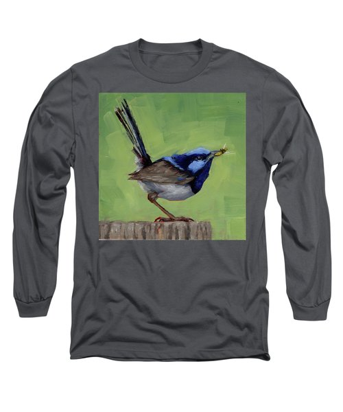 Fairy Wren With Lunch  Long Sleeve T-Shirt by Margaret Stockdale