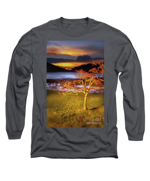 Long Sleeve T-Shirt featuring the painting Fall Colors At Sunrise In Otter Blue Ridge Ap by Dan Carmichael