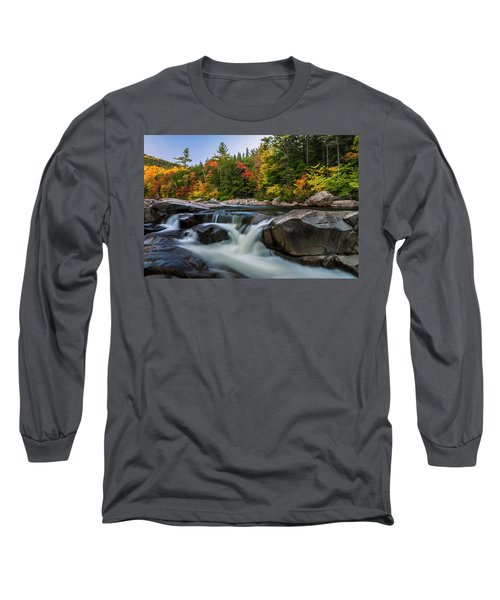 Fall Foliage Along Swift River In White Mountains New Hampshire  Long Sleeve T-Shirt by Ranjay Mitra