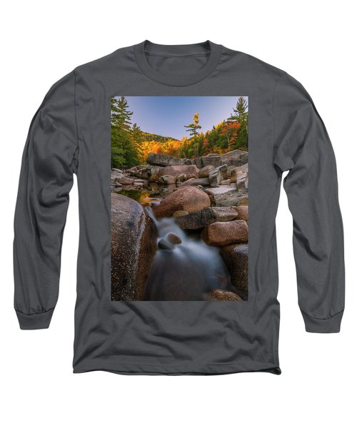 Long Sleeve T-Shirt featuring the photograph Fall Foliage In New Hampshire Swift River by Ranjay Mitra