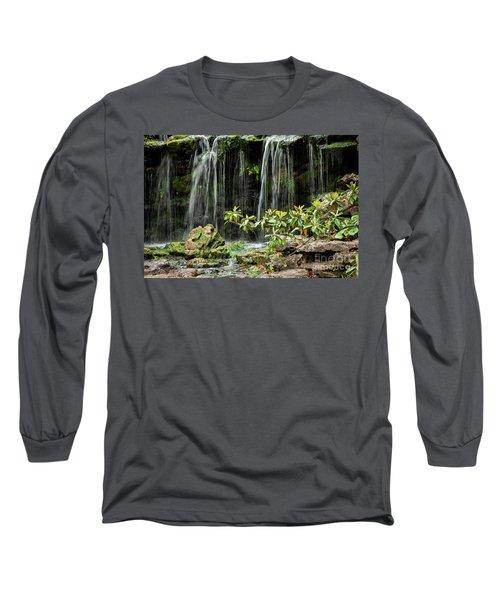 Falling Falls In The Garden Long Sleeve T-Shirt by Iris Greenwell