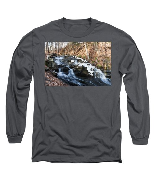 Long Sleeve T-Shirt featuring the photograph Falling Waters In February #1 by Jeff Severson
