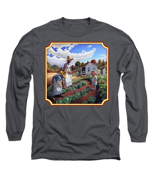 Family Garden Country Farm Landscape - Square Format Long Sleeve T-Shirt