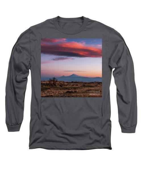 Famous Ararat Mountain During Beautiful Sunset As Seen From Armenia Long Sleeve T-Shirt by Gurgen Bakhshetsyan