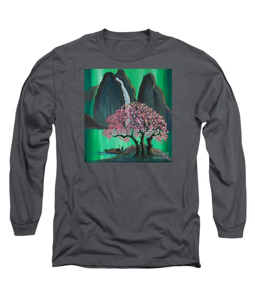 Long Sleeve T-Shirt featuring the painting Fantasy Japan by Jacqueline Athmann