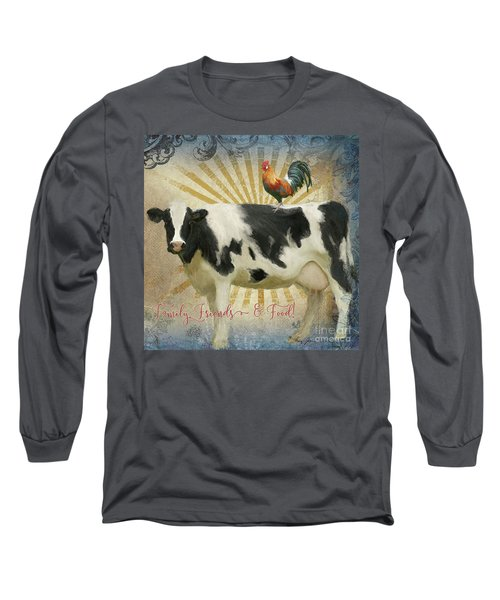 Long Sleeve T-Shirt featuring the painting Farm Fresh Barnyard Animals Cow Rooster Typography by Audrey Jeanne Roberts