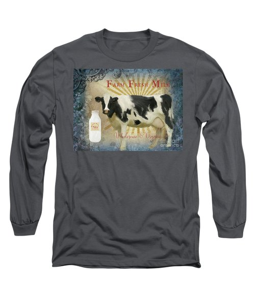 Long Sleeve T-Shirt featuring the painting Farm Fresh Milk Vintage Style Typography Country Chic by Audrey Jeanne Roberts