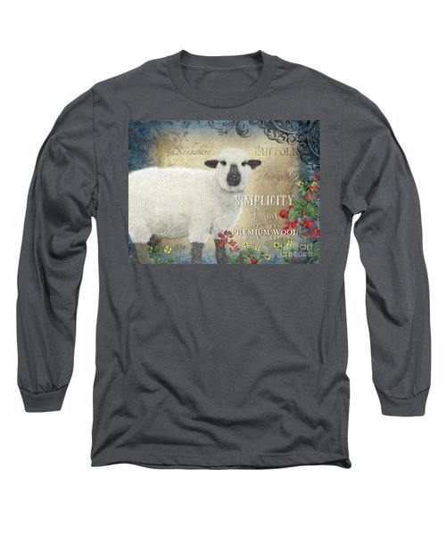 Long Sleeve T-Shirt featuring the painting Farm Fresh Sheep Lamb Wool Farmhouse Chic  by Audrey Jeanne Roberts