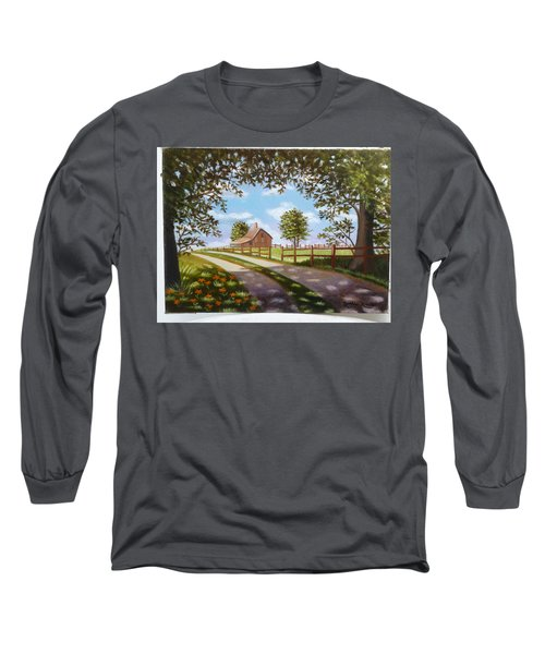 Farmhouse Framed By Trees Long Sleeve T-Shirt