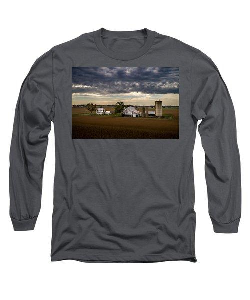 Farmstead Under Clouds Long Sleeve T-Shirt