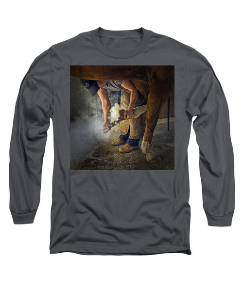 Farrier Visit - 365-46 Long Sleeve T-Shirt by Inge Riis McDonald