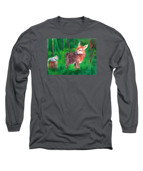 Fawn With Squirrel Long Sleeve T-Shirt by Ellen Canfield