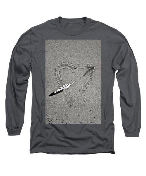 Feather Arrow Through Heart In The Sand Long Sleeve T-Shirt