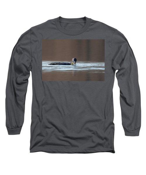 Feeding Common Loon Long Sleeve T-Shirt by Bill Wakeley
