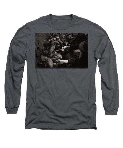 Feeding The Pigeons Long Sleeve T-Shirt by James David Phenicie