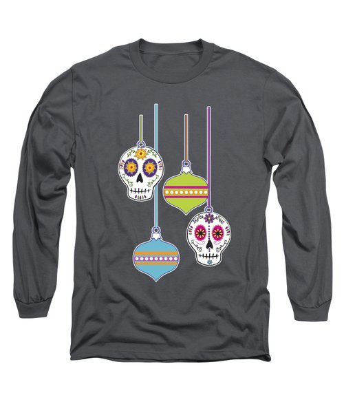 Feliz Navidad Holiday Sugar Skulls Long Sleeve T-Shirt by Tammy Wetzel
