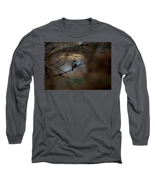Long Sleeve T-Shirt featuring the digital art Female Belted Kingfisher 3 by Ernie Echols