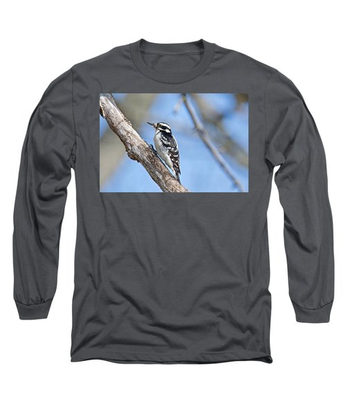Long Sleeve T-Shirt featuring the photograph Female Downey Woodpecker 1104  by Michael Peychich