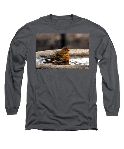 Female Summer Tanager In Bird Bath Long Sleeve T-Shirt