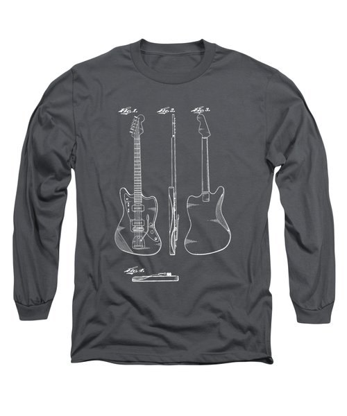 Fender Guitar Drawing Tee Long Sleeve T-Shirt by Edward Fielding