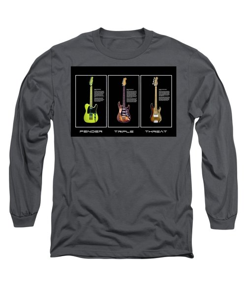 Long Sleeve T-Shirt featuring the photograph Fender Triple Threat by Peter Chilelli