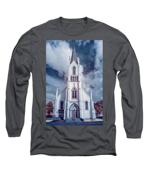 Ferndale Church In Infrared Long Sleeve T-Shirt by Greg Nyquist
