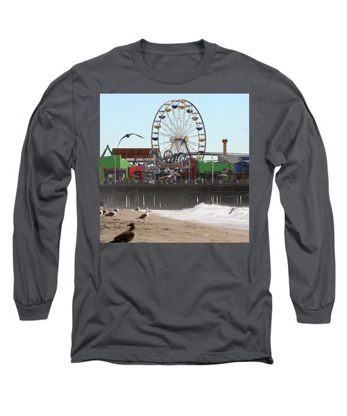 Ferris Wheel At Santa Monica Pier Long Sleeve T-Shirt