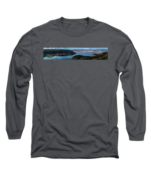 Ferrol's Estuary Panorama From La Bailadora Galicia Spain Long Sleeve T-Shirt by Pablo Avanzini