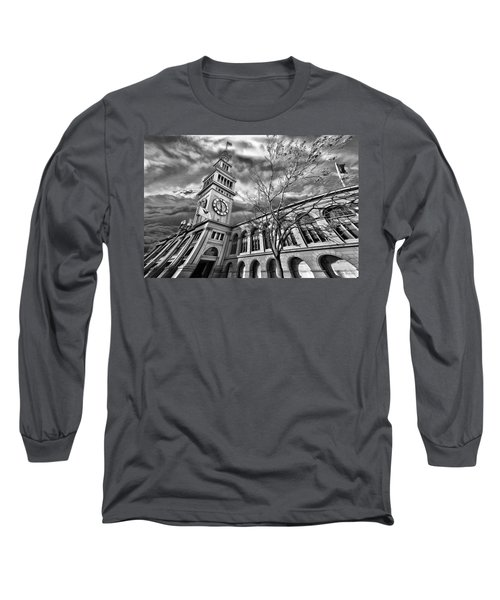 Ferry Building Black  White Long Sleeve T-Shirt